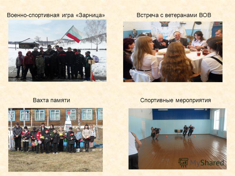 9 Встреча с ветеранами ВОВВоенно-спортивная игра «Зарница» Вахта памятиСпортивные мероприятия