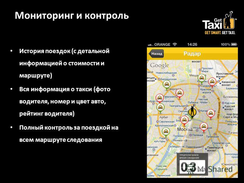 Мониторинг и контроль История поездок (с детальной информацией о стоимости и маршруте) Вся информация о такси (фото водителя, номер и цвет авто, рейтинг водителя) Полный контроль за поездкой на всем маршруте следования