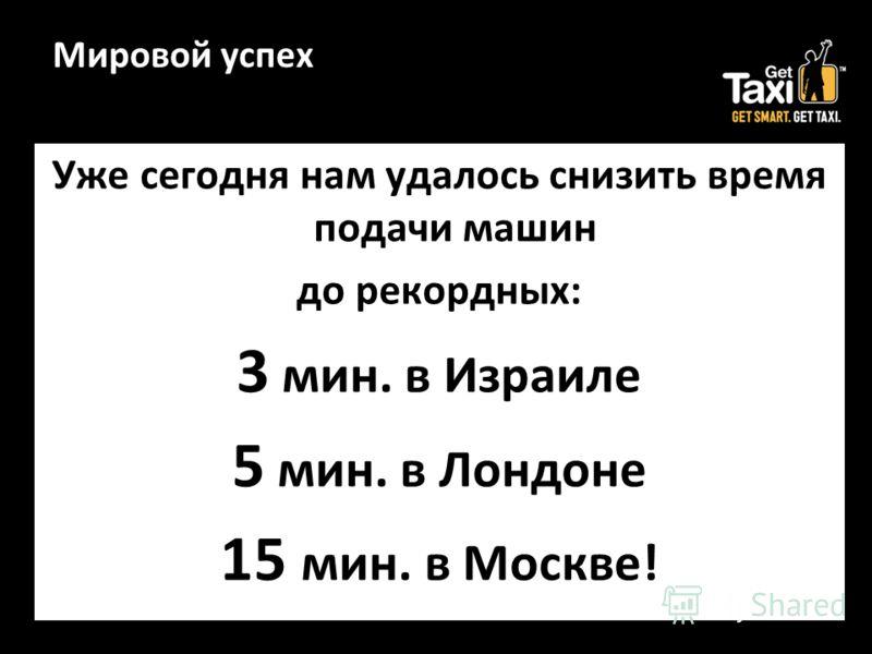 Мировой успех Уже сегодня нам удалось снизить время подачи машин до рекордных: 3 мин. в Израиле 5 мин. в Лондоне 15 мин. в Москве!