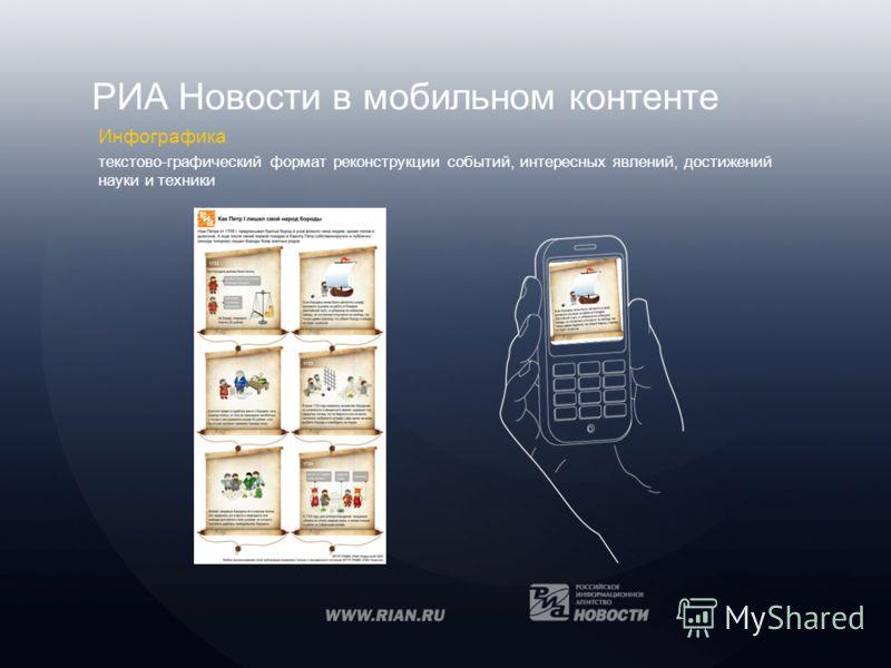 РИА Новости в мобильном контенте Инфографика текстово-графический формат реконструкции событий, интересных явлений, достижений науки и техники