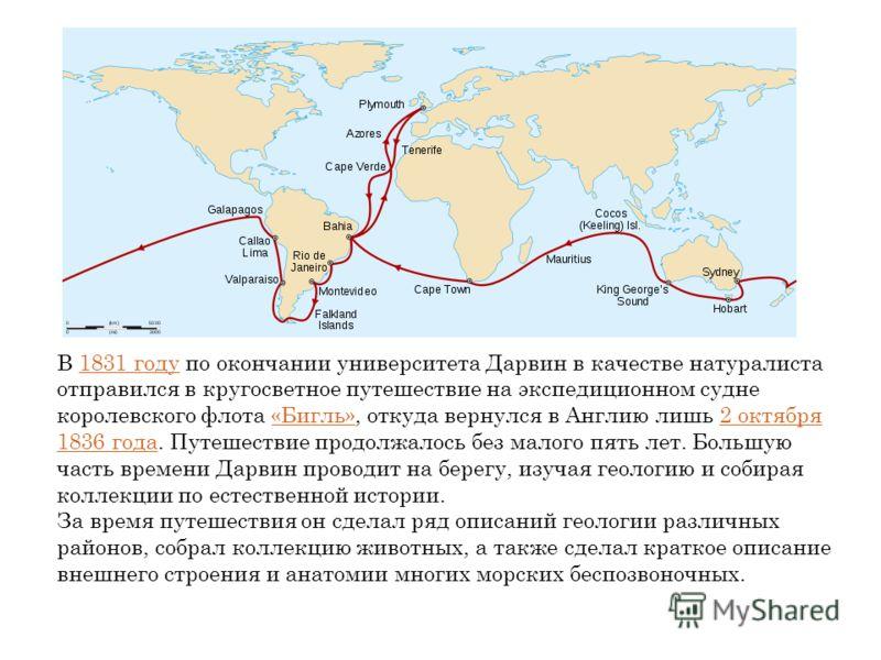 В 1831 году по окончании университета Дарвин в качестве натуралиста отправился в кругосветное путешествие на экспедиционном судне королевского флота «Бигль», откуда вернулся в Англию лишь 2 октября 1836 года. Путешествие продолжалось без малого пять