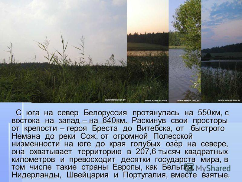 С юга на север Белоруссия протянулась на 550км, с востока на запад – на 640км. Раскинув свои просторы от крепости – героя Бреста до Витебска, от быстрого Немана до реки Сож, от огромной Полесской низменности на юге до края голубых озёр на севере, она