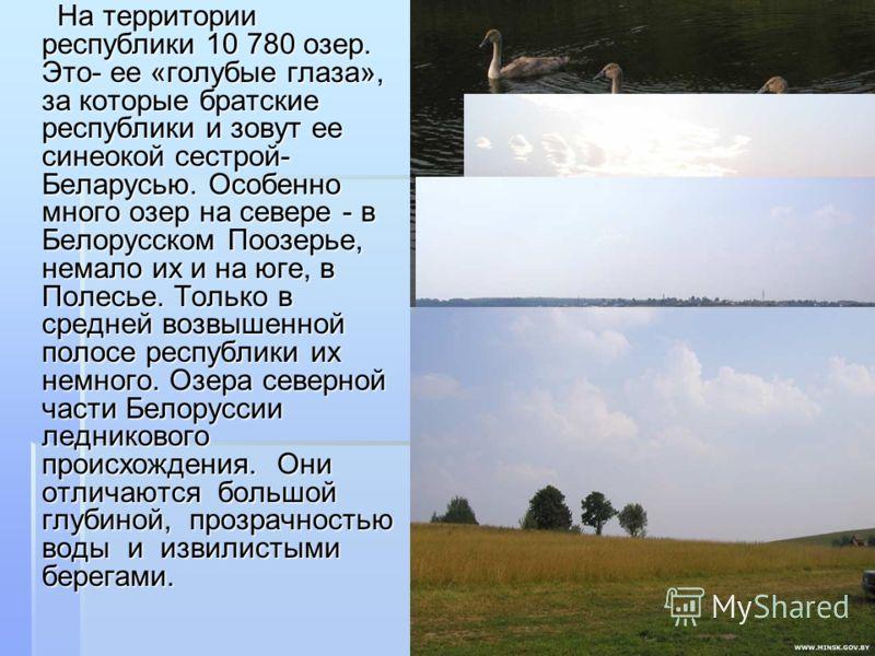 На территории республики 10 780 озер. Это- ее «голубые глаза», за которые братские республики и зовут ее синеокой сестрой- Беларусью. Особенно много озер на севере - в Белорусском Поозерье, немало их и на юге, в Полесье. Только в средней возвышенной