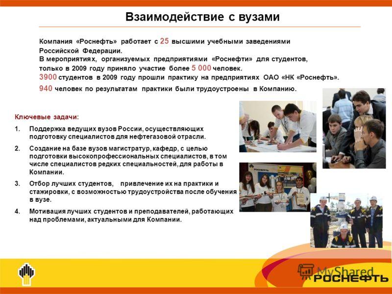 Взаимодействие с вузами Ключевые задачи: 1.Поддержка ведущих вузов России, осуществляющих подготовку специалистов для нефтегазовой отрасли. 2.Создание на базе вузов магистратур, кафедр, с целью подготовки высокопрофессиональных специалистов, в том чи