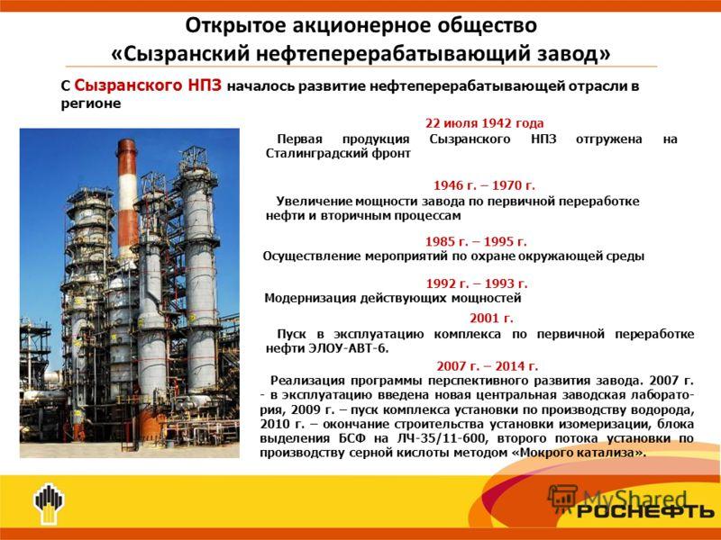 Открытое акционерное общество «Сызранский нефтеперерабатывающий завод» С Сызранского НПЗ началось развитие нефтеперерабатывающей отрасли в регионе 1985 г. – 1995 г. Осуществление мероприятий по охране окружающей среды 1992 г. – 1993 г. Модернизация д