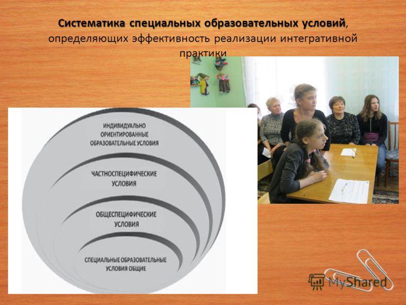 Систематика специальных образовательных условий Систематика специальных образовательных условий, определяющих эффективность реализации интегративной практики