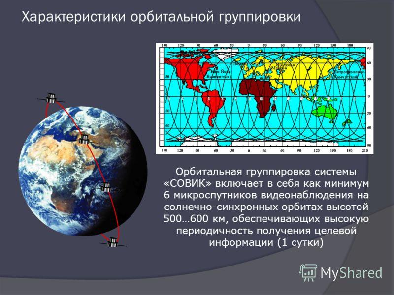Характеристики орбитальной группировки Орбитальная группировка системы «СОВИК» включает в себя как минимум 6 микроспутников видеонаблюдения на солнечно-синхронных орбитах высотой 500…600 км, обеспечивающих высокую периодичность получения целевой инфо