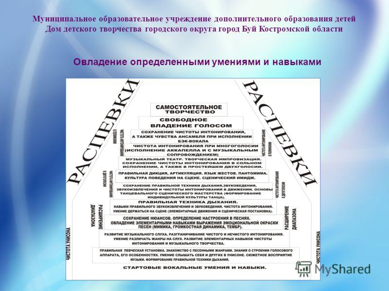 Муниципальное образовательное учреждение дополнительного образования детей Дом детского творчества городского округа город Буй Костромской области Овладение определенными умениями и навыками