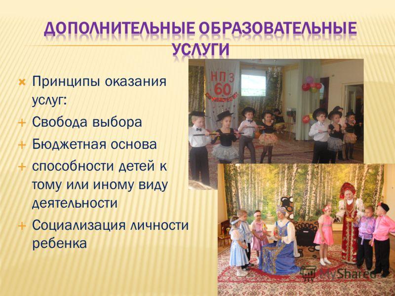 Принципы оказания услуг: Свобода выбора Бюджетная основа способности детей к тому или иному виду деятельности Социализация личности ребенка