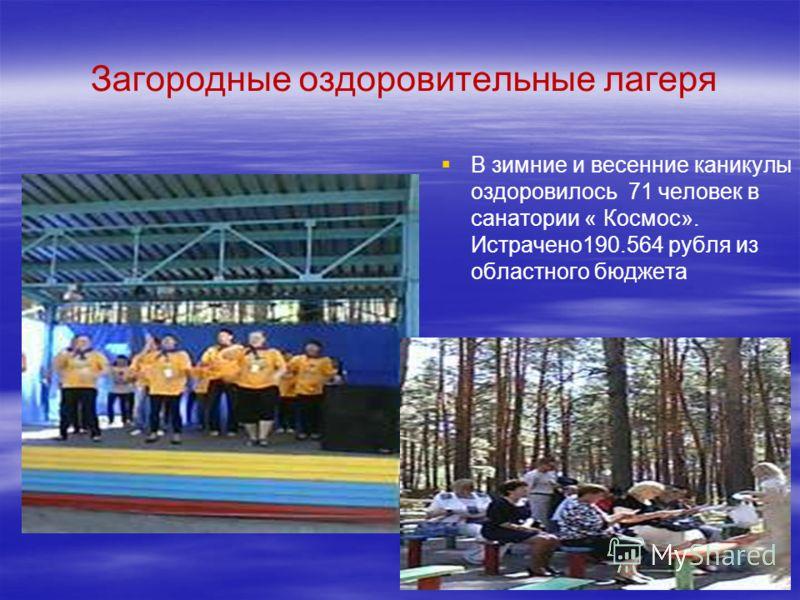 Загородные оздоровительные лагеря В зимние и весенние каникулы оздоровилось 71 человек в санатории « Космос». Истрачено190.564 рубля из областного бюджета