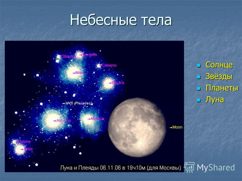Небесные тела Солнце Солнце Звёзды Звёзды Планеты Планеты Луна Луна