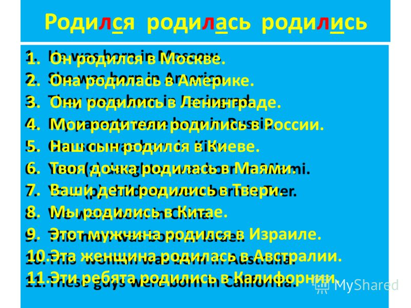 Родился родилась родились 1.He was born in Moscow. 2.She was born in America. 3.They were born in Leningrad. 4.My parents were born in Russia. 5.Our son was born in Kiev. 6.Your (s) daughter was born in Miami. 7.Your (p) children were born in Tver. 8