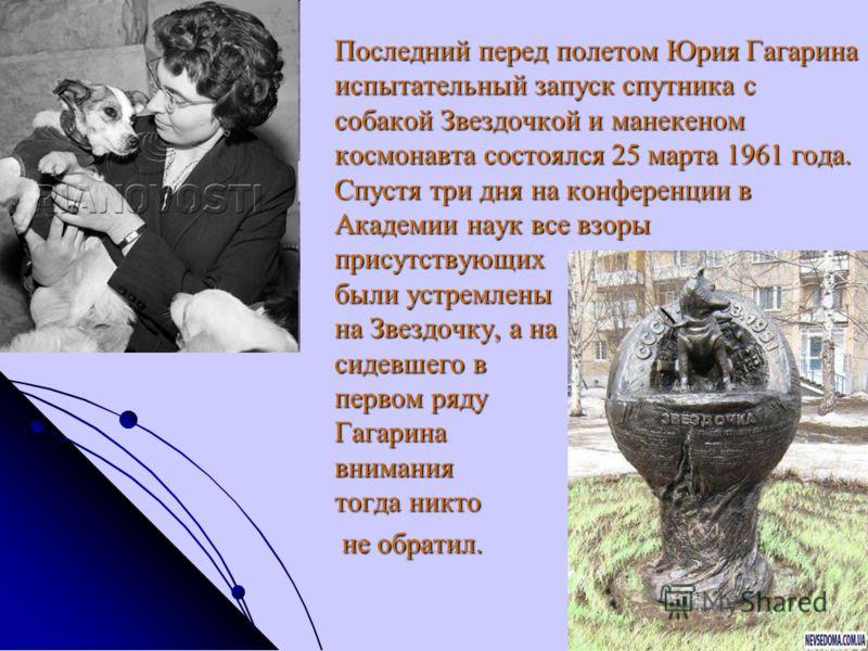 Последний перед полетом Юрия Гагарина испытательный запуск спутника с собакой Звездочкой и манекеном космонавта состоялся 25 марта 1961 года. Спустя три дня на конференции в Академии наук все взоры присутствующих были устремлены на Звездочку, а на си