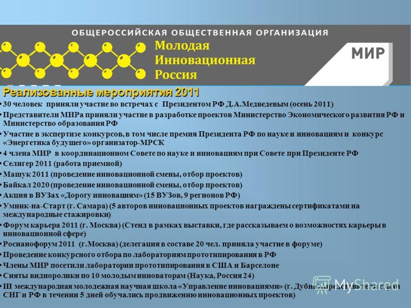 Проекты 30 человек приняли участие во встречах с Президентом РФ Д.А.Медведевым (осень 2011) Представители МИРа приняли участие в разработке проектов Министерство Экономического развития РФ и Министерство образования РФ Участие в экспертизе конкурсов,