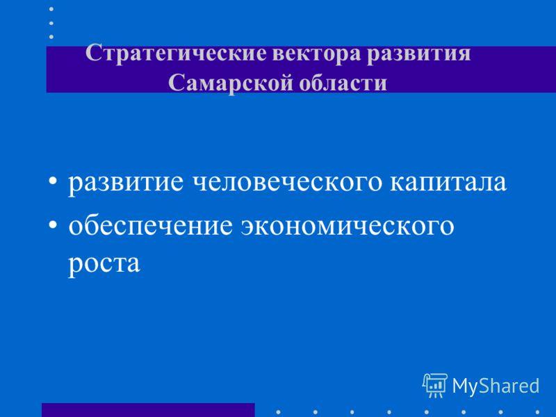 Стратегические вектора развития Самарской области развитие человеческого капитала обеспечение экономического роста