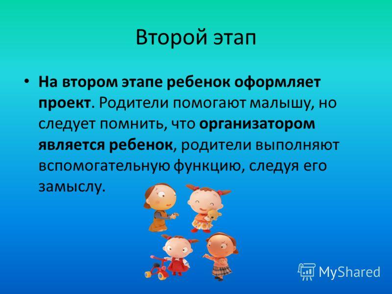 Второй этап На втором этапе ребенок оформляет проект. Родители помогают малышу, но следует помнить, что организатором является ребенок, родители выполняют вспомогательную функцию, следуя его замыслу.