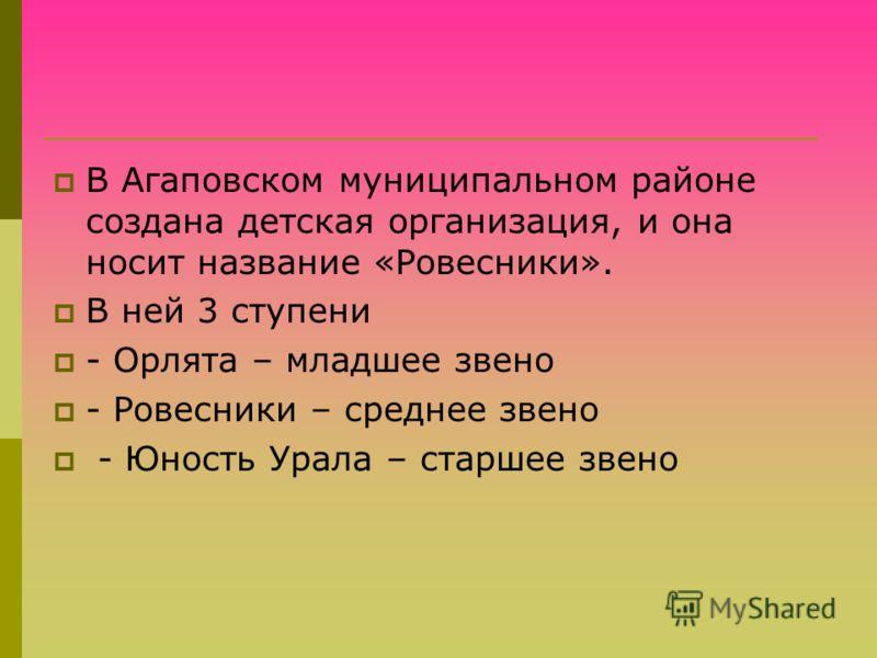 В Агаповском муниципальном районе создана детская организация, и она носит название «Ровесники». В ней 3 ступени - Орлята – младшее звено - Ровесники – среднее звено - Юность Урала – старшее звено