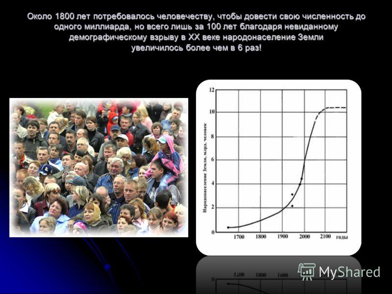 Около 1800 лет потребовалось человечеству, чтобы довести свою численность до одного миллиарда, но всего лишь за 100 лет благодаря невиданному демографическому взрыву в ХХ веке народонаселение Земли увеличилось более чем в 6 раз!