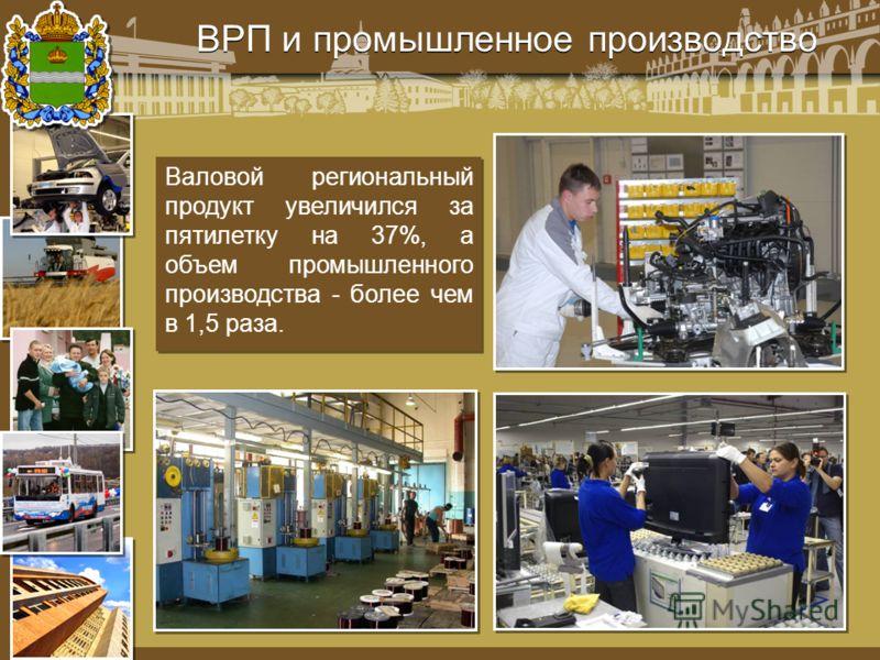 ВРП и промышленное производство Валовой региональный продукт увеличился за пятилетку на 37%, а объем промышленного производства - более чем в 1,5 раза.