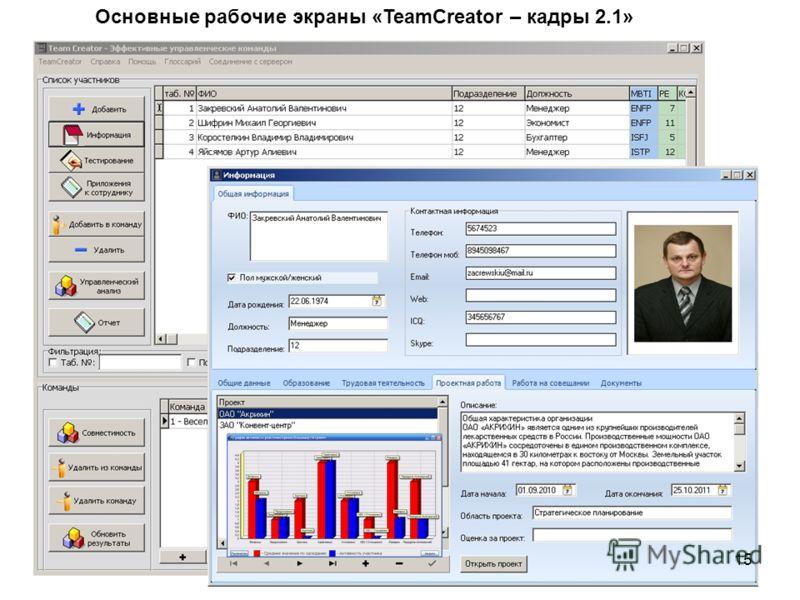 15 Основные рабочие экраны «TeamCreator – кадры 2.1»