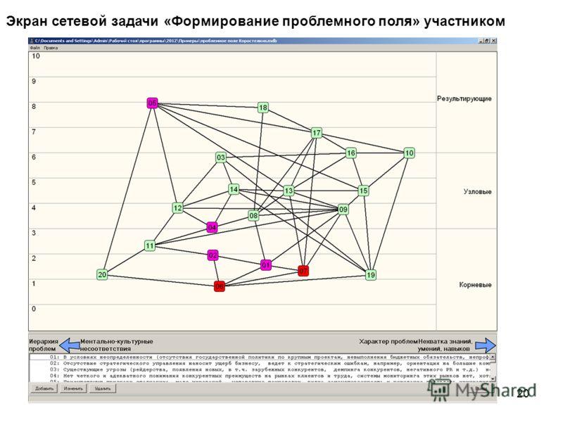 20 Экран сетевой задачи «Формирование проблемного поля» участником