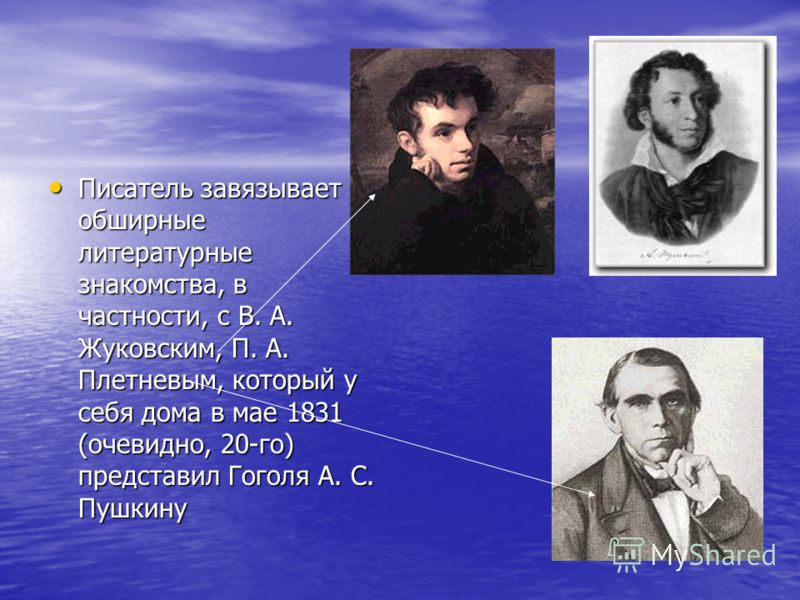 Писатель завязывает обширные литературные знакомства, в частности, с В. А. Жуковским, П. А. Плетневым, который у себя дома в мае 1831 (очевидно, 20-го) представил Гоголя А. С. Пушкину Писатель завязывает обширные литературные знакомства, в частности,