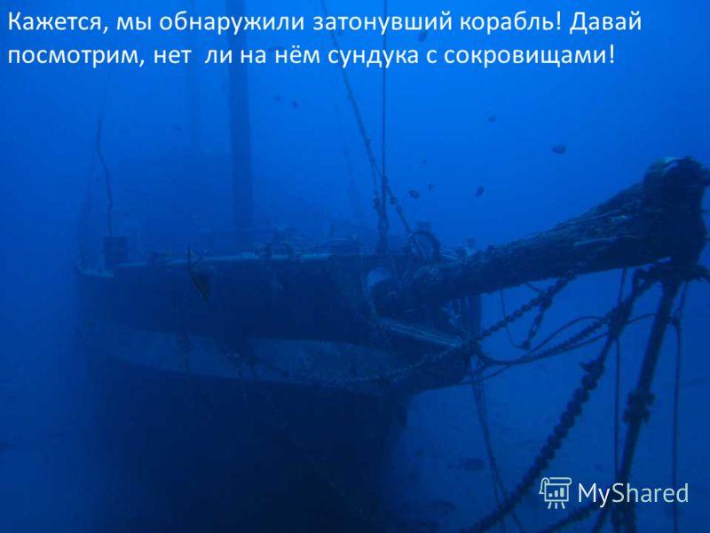 Кажется, мы обнаружили затонувший корабль! Давай посмотрим, нет ли на нём сундука с сокровищами!