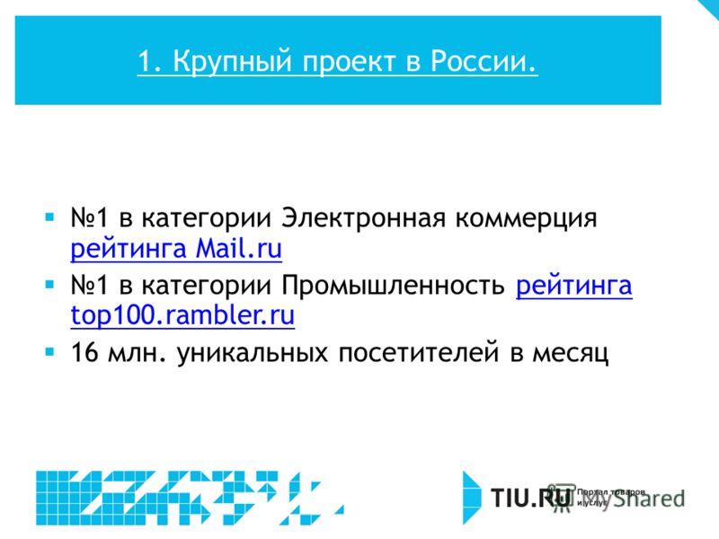 1 в категории Электронная коммерция рейтинга Mail.ru рейтинга Mail.ru 1 в категории Промышленность рейтинга top100.rambler.ruрейтинга top100.rambler.ru 16 млн. уникальных посетителей в месяц 1. Крупный проект в России.