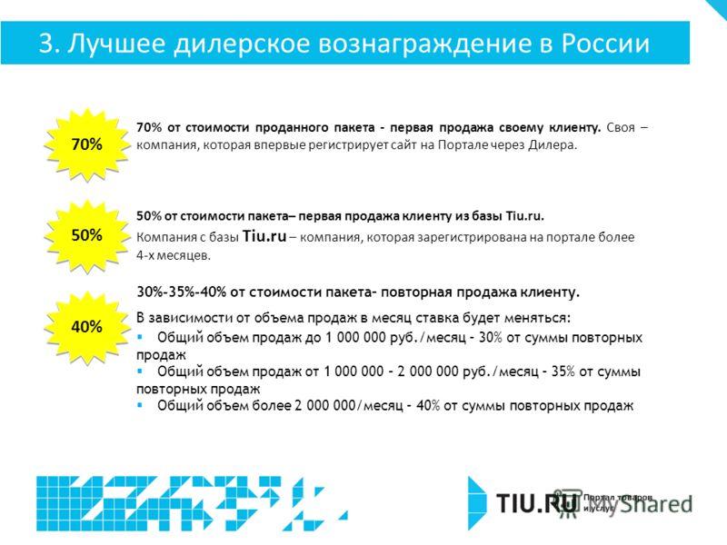 70% от стоимости проданного пакета - первая продажа своему клиенту. Своя – компания, которая впервые регистрирует сайт на Портале через Дилера. 50% от стоимости пакета– первая продажа клиенту из базы Tiu.ru. Компания с базы Tiu.ru – компания, которая