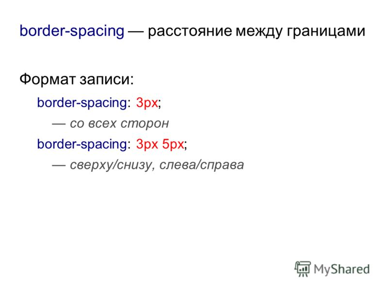 border-spacing расстояние между границами Формат записи: border-spacing: 3px; со всех сторон border-spacing: 3px 5px; сверху/снизу, слева/справа