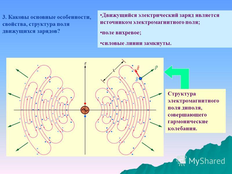 3. Каковы основные особенности, свойства, структура поля движущихся зарядов? Движущийся электрический заряд является источником электромагнитного поля; поле вихревое; силовые линии замкнуты. Структура электромагнитного поля диполя, совершающего гармо