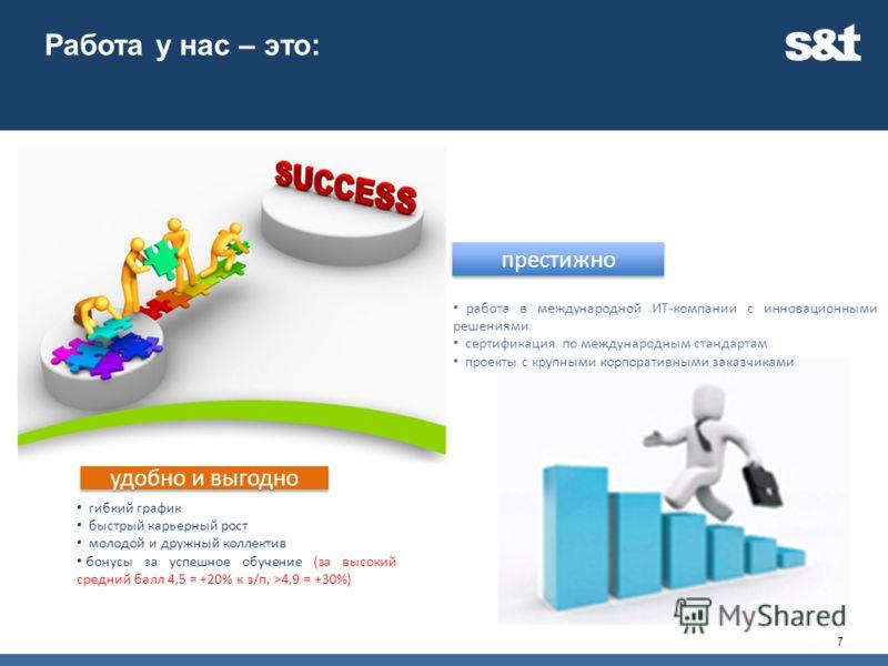 Работа у нас – это: 7 гибкий график быстрый карьерный рост молодой и дружный коллектив бонусы за успешное обучение (за высокий средний балл 4,5 = +20% к з/п, >4,9 = +30%) удобно и выгодно работа в международной ИТ-компании с инновационными решениями