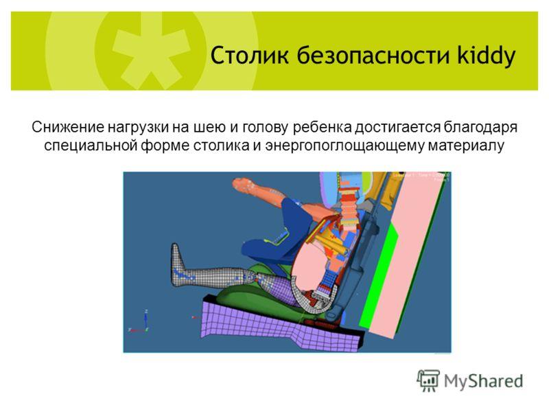 Снижение нагрузки на шею и голову ребенка достигается благодаря специальной форме столика и энергопоглощающему материалу Столик безопасности kiddy