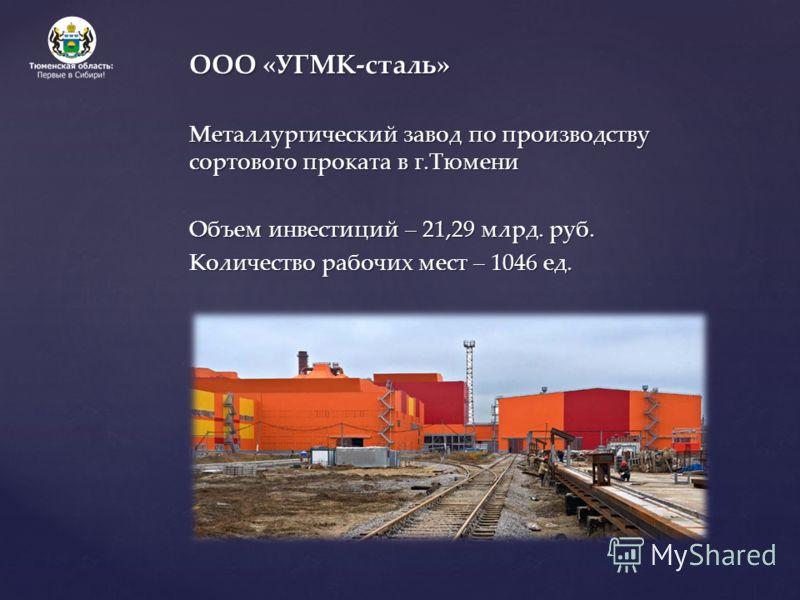 ООО «УГМК-сталь» Металлургический завод по производству сортового проката в г.Тюмени Объем инвестиций – 21,29 млрд. руб. Количество рабочих мест – 1046 ед.