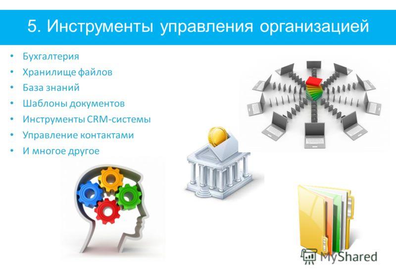 5. Инструменты управления организацией Бухгалтерия Хранилище файлов База знаний Шаблоны документов Инструменты CRM-системы Управление контактами И многое другое