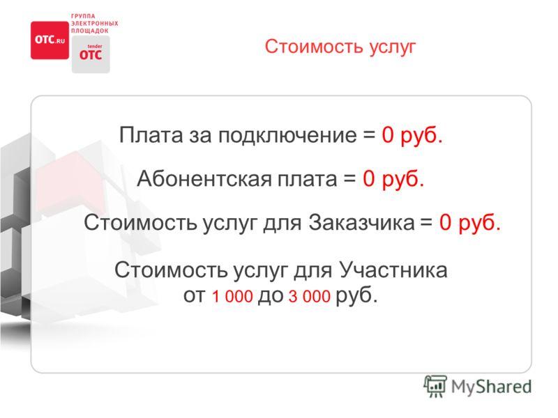 Стоимость услуг Плата за подключение = 0 руб. Абонентская плата = 0 руб. Стоимость услуг для Заказчика = 0 руб. Стоимость услуг для Участника от 1 000 до 3 000 руб.