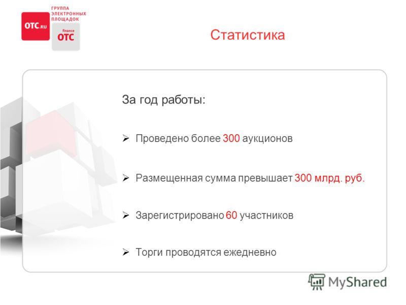 Статистика За год работы: Проведено более 300 аукционов Размещенная сумма превышает 300 млрд. руб. Зарегистрировано 60 участников Торги проводятся ежедневно