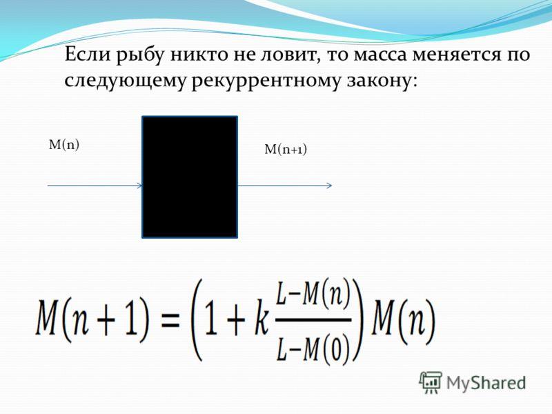 Если рыбу никто не ловит, то масса меняется по следующему рекуррентному закону: M(n) M(n+1)