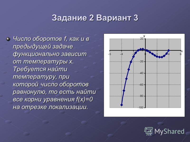 Задание 2 Вариант 3 Число оборотов f, как и в предыдущей задаче функционально зависит от температуры x. Требуется найти температуру, при которой число оборотов равнонулю, то есть найти все корни уравнения f(x)=0 на отрезке локализации.