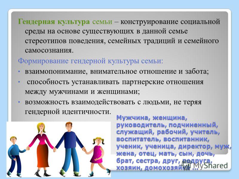 Мужчина, женщина, руководитель, подчиненный, служащий, рабочий, учитель, воспитатель, воспитанник, ученик, ученица, директор, муж, жена, отец, мать, сын, дочь, брат, сестра, друг, подруга, хозяин, домохозяйка … Гендерная культура семьи – конструирова