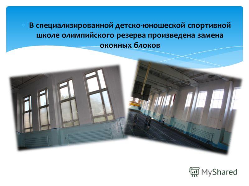В специализированной детско-юношеской спортивной школе олимпийского резерва произведена замена оконных блоков