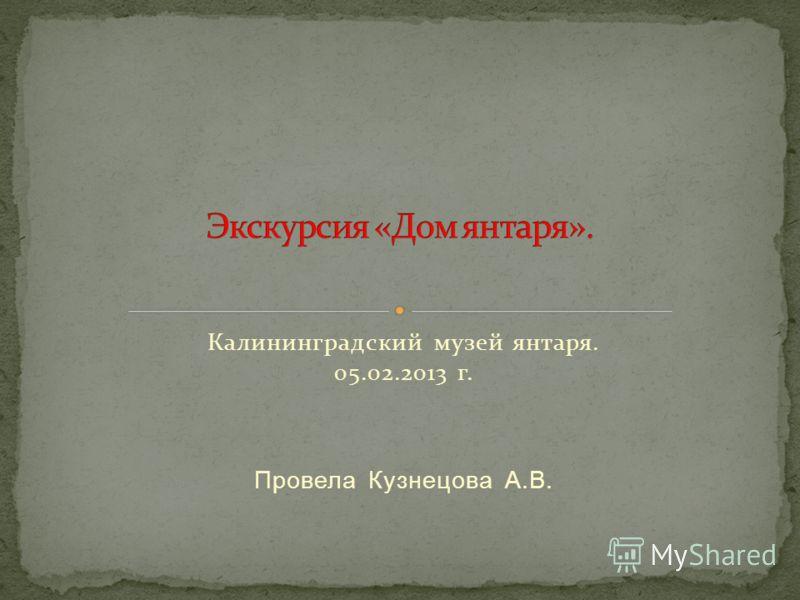 Калининградский музей янтаря. 05.02.2013 г. Провела Кузнецова А.В.