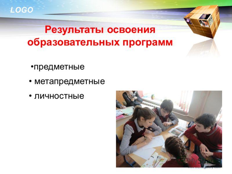 LOGO Результаты освоения образовательных программ www.themegallery.com предметные метапредметные личностные