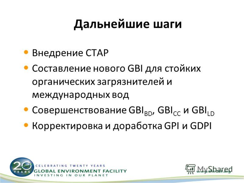 Дальнейшие шаги Внедрение СТАР Составление нового GBI для стойких органических загрязнителей и международных вод Совершенствование GBI BD, GBI CC и GBI LD Корректировка и доработка GPI и GDPI