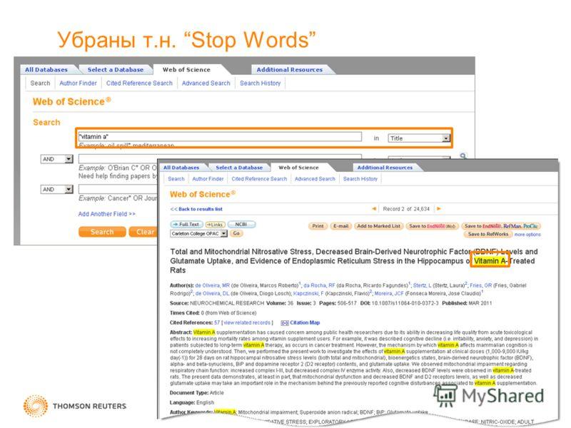 Убраны т.н. Stop Words
