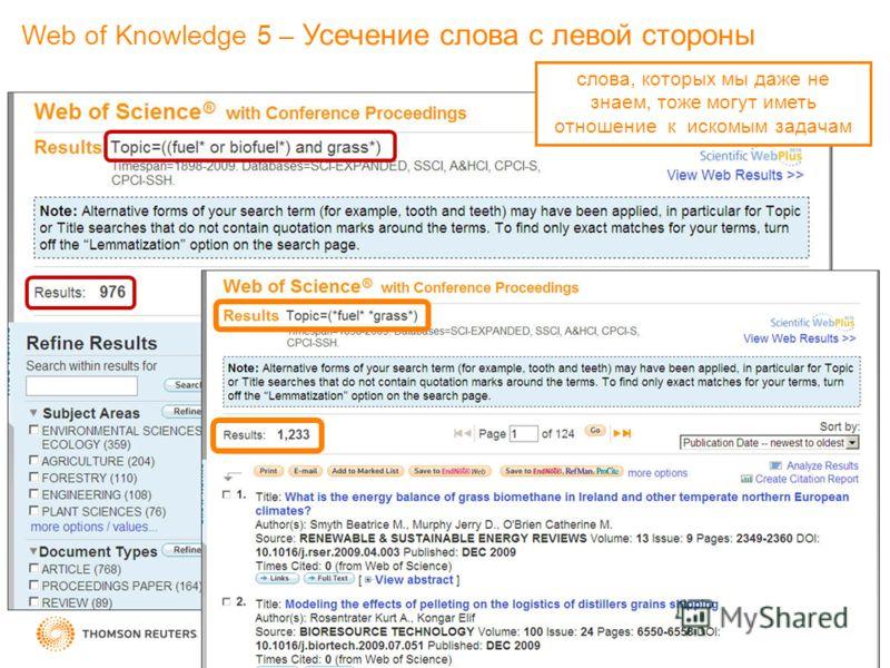 слова, которых мы даже не знаем, тоже могут иметь отношение к искомым задачам Web of Knowledge 5 – Усечение слова с левой стороны