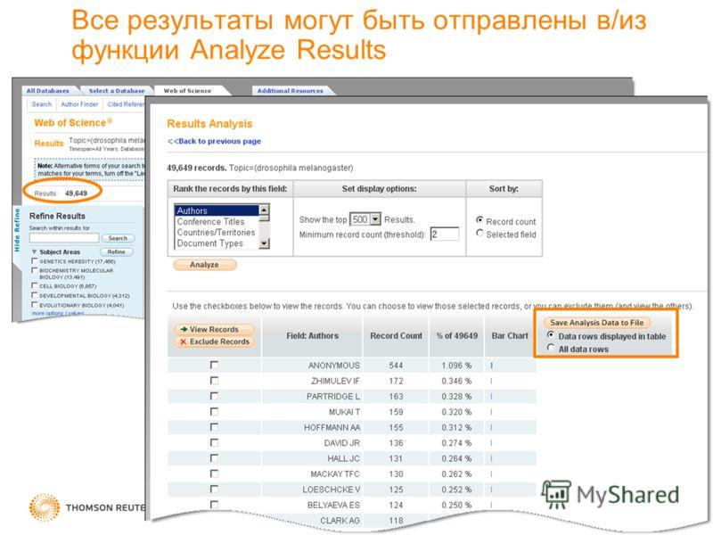 Все результаты могут быть отправлены в/из функции Analyze Results