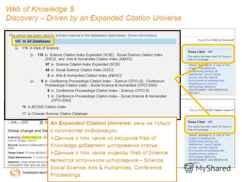 Web of Knowledge 5 Discovery – Driven by an Expanded Citation Universe An Expanded Citation Universe: речь не только о количестве информации. Данные о том, какие из ресурсов Web of Knowledge добавляют цитирования статье. Данные о том, какие индексы W