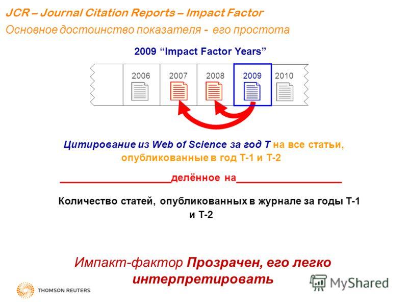 2009 Impact Factor Years 20092008 20072006 2010 Цитирование из Web of Science за год T на все статьи, опубликованные в год T-1 и T-2 ____________________делённое на___________________ Количество статей, опубликованных в журнале за годы T-1 и T-2 Импа
