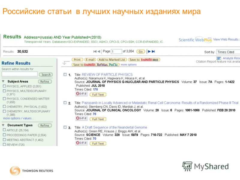 Российские статьи в лучших научных изданиях мира